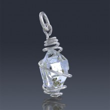 5.86ct Herkimer Diamond Quartz Crystal 925 Sterling Silver Wrap Around Pendant-HDP230-20