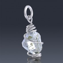 2.87ct Herkimer Diamond Quartz Crystal 925 Sterling Silver Wrap Around Pendant-HDP233-20