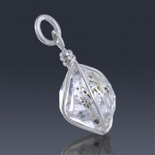 5.58ct Herkimer Diamond Quartz Crystal 925 Sterling Silver Wrap Around Pendant-HDP234-20