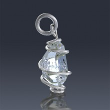 3.18ct Herkimer Diamond Quartz Crystal 925 Sterling Silver Wrap Around Pendant-HDP240-20