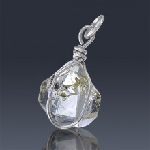 5.43ct Herkimer Diamond Quartz Crystal 925 Sterling Silver Wrap Around Pendant-HDP305-20