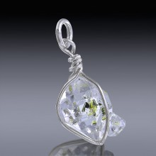 5.45ct Herkimer Diamond Quartz Crystal 925 Sterling Silver Wrap Around Pendant-HDP97-20