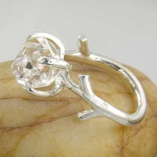 Herkimer Diamond Quartz Recycled Sterling Silver Twig Ring twig-ring-platina-size-O-20