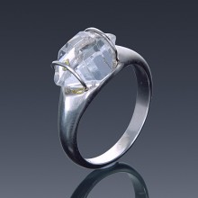 Herkimer Diamond Ring 925 Sterling Silver Quartz Solitaire East to West Set-1855-20