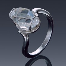 Herkimer Diamond Ring 925 Sterling Silver Twist Solitaire-1857-20