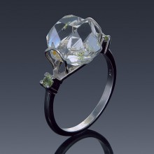 Herkimer Diamond Ring 925 Sterling Silver Natural Gemstone Birthstones-1858-20