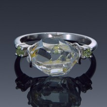 Herkimer Diamond and Gemstone Sterling Silver Birthstone Ring Made to order-1858-custom-20