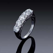 Zircon Ring Classic 5 Stone Womens Right Hand Fashion 925 Sterling Silver-1852-20