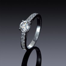 Zircon Engagement Ring 925 Silver with Swarovski Accents-1845-20