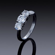 Zircon Engagement Ring 1 carat 3 Stone Band-1850-20