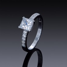 Zircon Engagement Ring Princess Cut and Swarovski Crystals-1841-20
