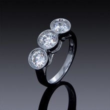 Zircon Engagement Ring 3 Stone 925 Sterling Silver-1847-20